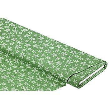 Baumwollstoff Sternblume 'Mona', grün/weiß