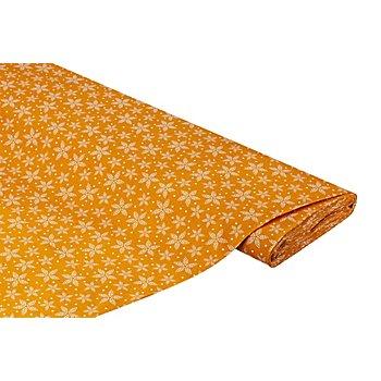 Tissu coton 'Fleur en étoile', ocre/blanc
