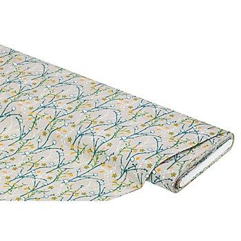 Baumwollstoff Floral 'Mona', grau/ocker/grün