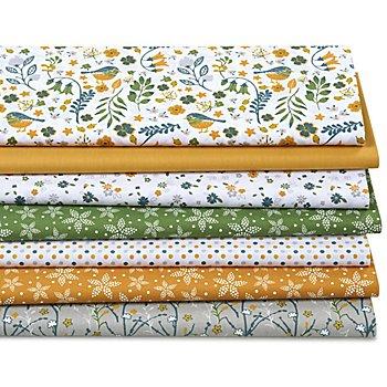Lot de 7 coupons de tissu patchwork 'oiseaux', ambre multicolore