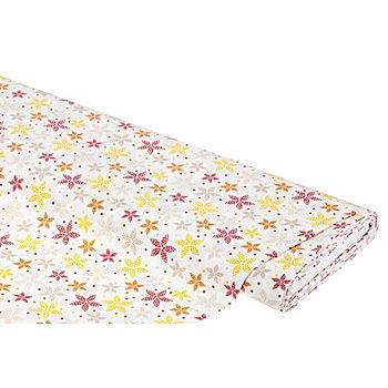 Baumwollstoff Sternblume 'Mona', weiß/rot/gelb