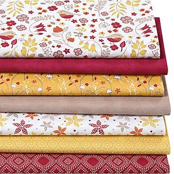 Patchwork- und Quiltpaket 'Vögel', rot/gelb