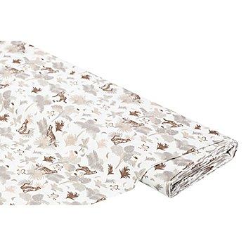 Tissu coton 'animaux', blanc/marron