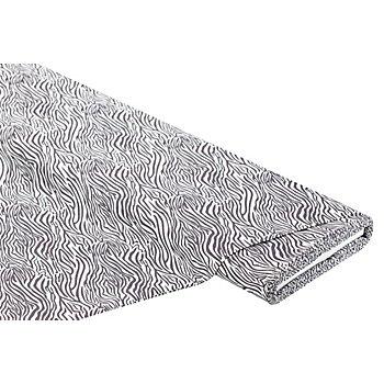 Baumwollstoff Zebra 'Mona', anthrazit/weiß