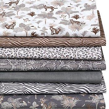 Patchwork- und Quiltpaket 'Animal-Print', braun/grau