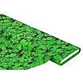 """Tissu coton à impression numérique """"feuilles de trèfle"""", vert multicolore"""