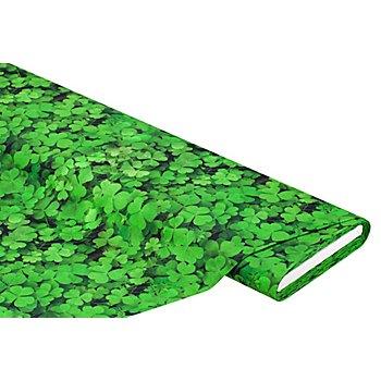 Tissu coton à impression numérique 'feuilles de trèfle', vert multicolore
