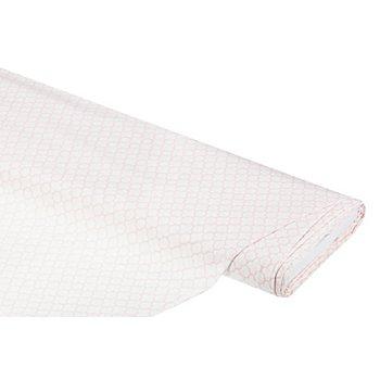Baumwollstoff 'Kachelmuster', weiß/rosa