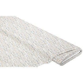 Tissu coton 'écritures/villes', blanc/marron