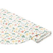 Tissu coton 'monde vintage', blanc/vert