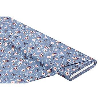 Tissu coton 'Oiseaux/Nostalgie', bleu