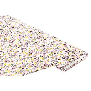 Tissu coton 'pré de fleurs', blanc/fruits des bois/ocre