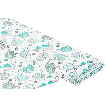 Tissu coton 'éléphants', vert menthe multicolore