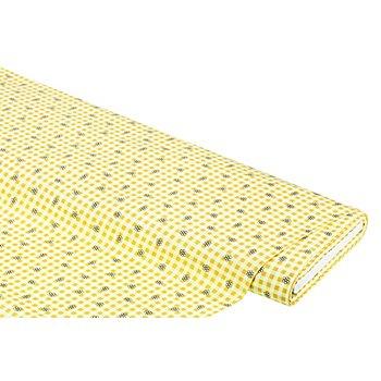 Baumwollstoff 'Karo & Blümchen', gelb-color