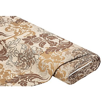Tissu brocart 'ramage', marron multicolore