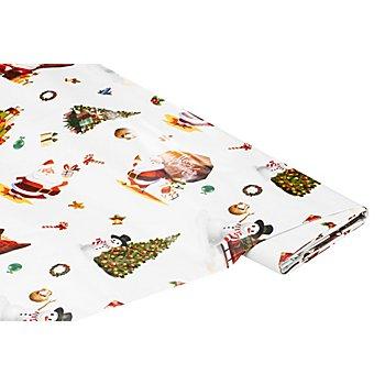 Abwaschbare Tischwäsche - Wachstuch 'Weihnachts-Design', weiß-color