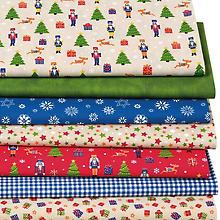 Lot de 7 coupons de tissu patchwork 'casse-noisettes', vert/rouge/bleu