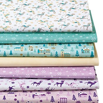 Lot de 7 coupons de tissu patchwork 'Noël', tons pastel