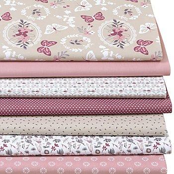 Patchwork- und Quiltpaket 'Schmetterlinge', rosa