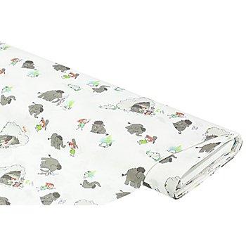 Tissu coton 'mammouth', blanc multicolore