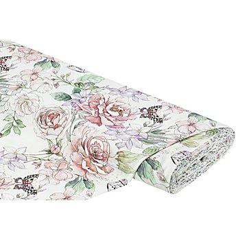 Dekostoff Vintage-Blumen 'Lorena', creme-color