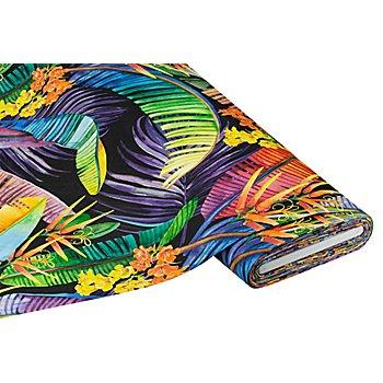 Tissu de décoration en coton 'jungle', noir multicolore