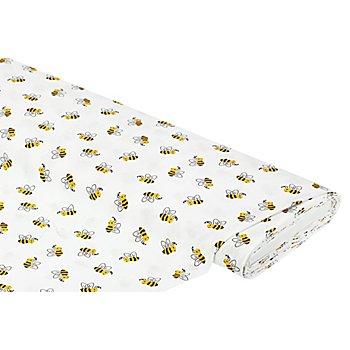 Baumwollstoff Bienen 'Mona', weiss/gelb