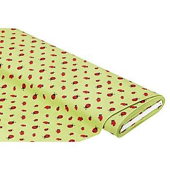 Tissu coton 'coccinelle', vert/rouge