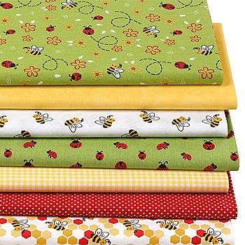 Lot de 7 coupons de tissu patchwork 'abeilles', vert/jaune multicolore