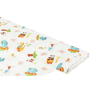 Tissu coton 'animaux sauvages', blanc multicolore