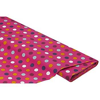 Beschichteter Baumwollstoff Tupfen, pink/gelb