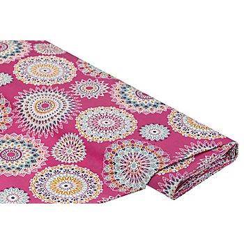 Tissu coton enduit 'mandala', rose vif