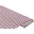 """Tissu coton enduit """"motif graphique"""", rose vif"""