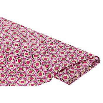 Beschichteter Baumwollstoff 'Kleine Mandalas', pink