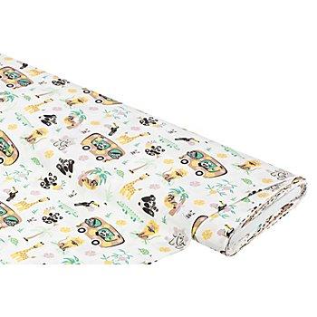 Tissu coton 'animaux de zoo', blanc multicolore