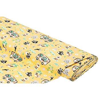 Baumwollstoff Zootiere 'Mona', gelb-color