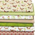 """Lot de 7 coupons de tissu patchwork """"poules"""", jaune/vert/taupe"""