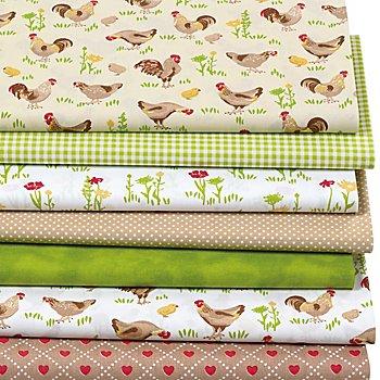Lot de 7 coupons de tissu patchwork 'poules', jaune/vert/taupe