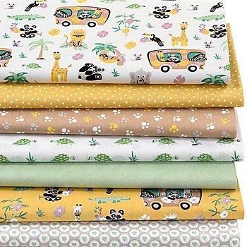 Patchwork- und Quiltpaket 'Zootiere', weiß/gelb/grün