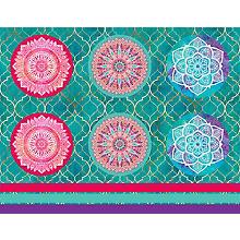 Coupon de tissu pour coussins 'mandala', rose vif/menthe