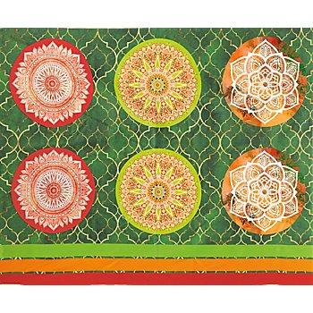 Coupon de tissu pour coussins 'mandala', rouge/vert