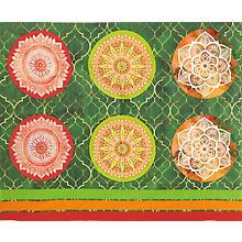Kissen-Coupon 'Mandala', rot/grün