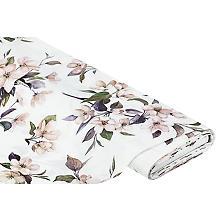 Deko-Satin ' Blumen elegant', offwhite-color