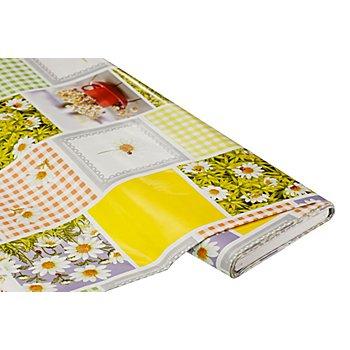 Abwaschbare Tischwäsche - Wachstuch 'Margeriten-Patch', gelb-grün-color