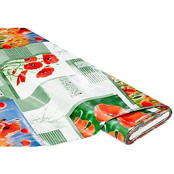 Abwaschbare Tischwäsche – Wachstuch 'Mohnblumen', rot-color