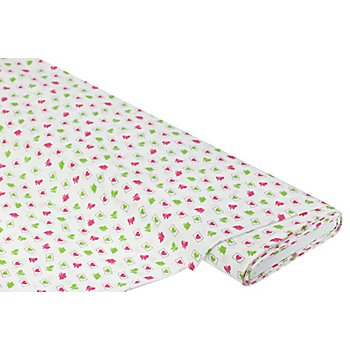 Baumwollstoff Schmetterlinge & Herzen 'Mona', weiß/pink/grün
