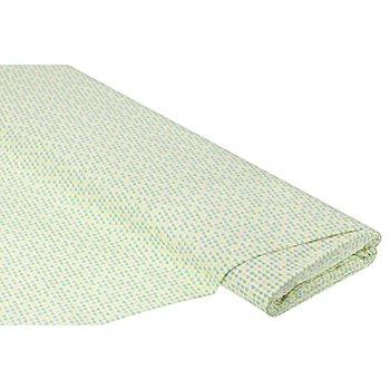 Baumwollstoff Miniherzchen 'Mona', gelb/grün/taupe