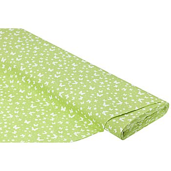 Tissu coton 'papillons', vert/blanc