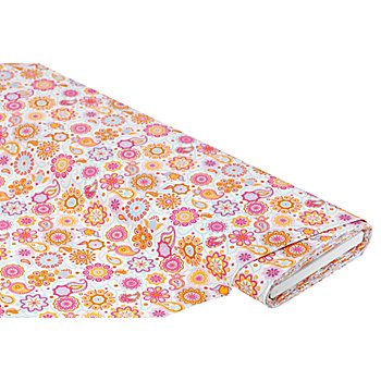 Baumwollstoff Mandala & Paisley 'Mona', weiss/pink