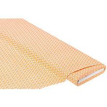 Baumwolstoff Rauten & Punkte 'Mona', orange/weiss